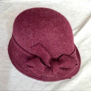 Jessica Simpson Burgundy Wool Cloche Hat